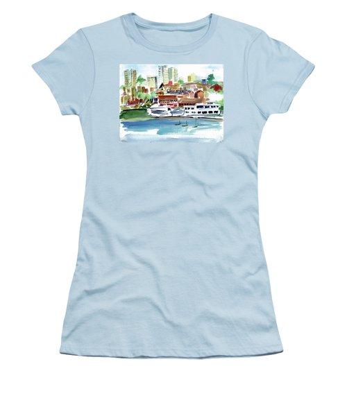 San Francisco Cityfront From Aquatic Park Women's T-Shirt (Junior Cut) by Tom Simmons