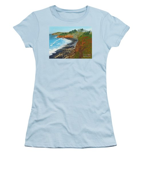 Women's T-Shirt (Junior Cut) featuring the painting San Simeon Ca Coast by Katherine Young-Beck