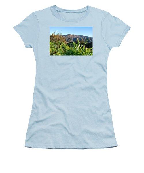 Santa Monica Mountains Green Landscape Women's T-Shirt (Athletic Fit)