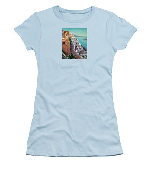 Hotels Of Santorini Women's T-Shirt (Junior Cut) by Jill Musser