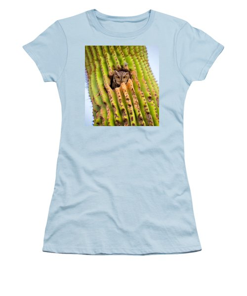 Screech Owl In Saguaro Women's T-Shirt (Athletic Fit)