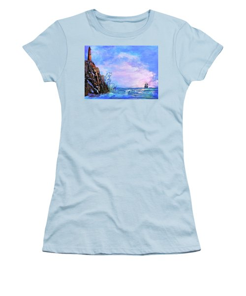 Women's T-Shirt (Junior Cut) featuring the painting Sea Stories 2  by Andrzej Szczerski