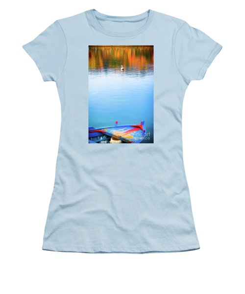 Women's T-Shirt (Athletic Fit) featuring the photograph Seagull And Boat by Silvia Ganora