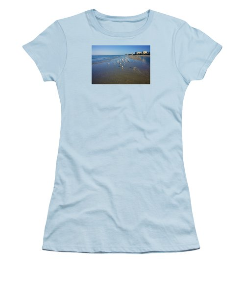Seagulls And Terns On The Beach In Naples, Fl Women's T-Shirt (Junior Cut) by Robb Stan
