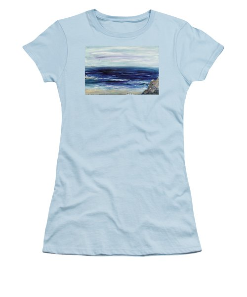 Seascape With White Cats Women's T-Shirt (Athletic Fit)