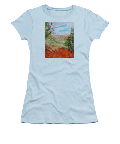 Women's T-Shirt (Junior Cut) featuring the painting Sedona Trail by Mike Ivey