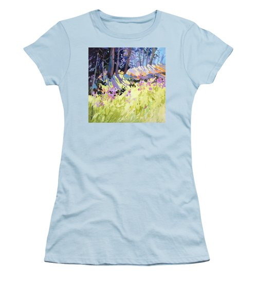 Women's T-Shirt (Junior Cut) featuring the painting Shadow Dance Alaska by Rae Andrews