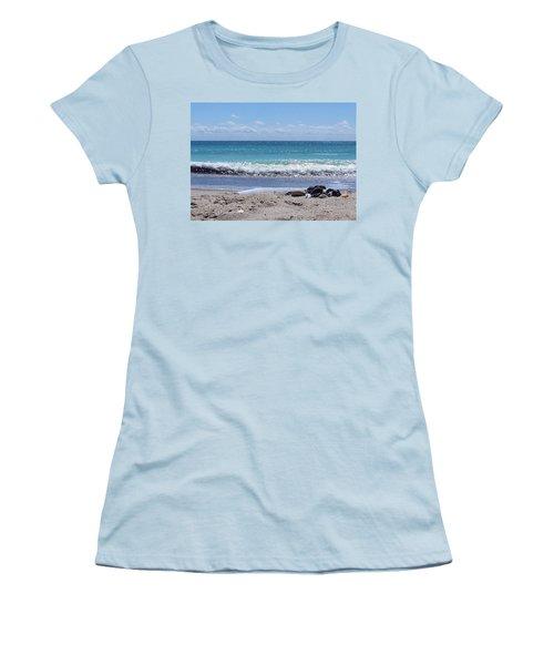 Women's T-Shirt (Junior Cut) featuring the photograph Shells On The Beach by Sandi OReilly