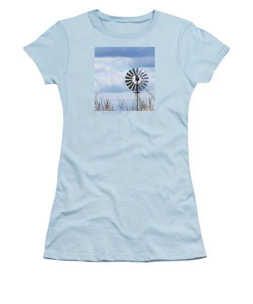 Women's T-Shirt (Junior Cut) featuring the photograph Shiny Windmill by Jeanette Oberholtzer
