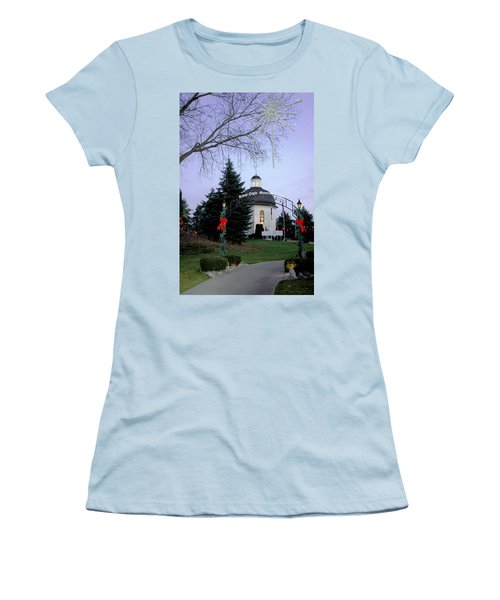 Silent Night Chapel Women's T-Shirt (Junior Cut) by LeeAnn McLaneGoetz McLaneGoetzStudioLLCcom
