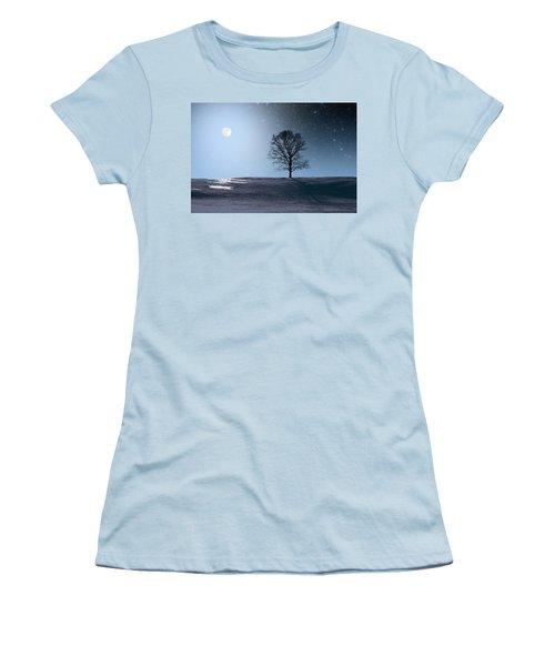 Women's T-Shirt (Junior Cut) featuring the photograph Single Tree In Moonlight by Larry Landolfi