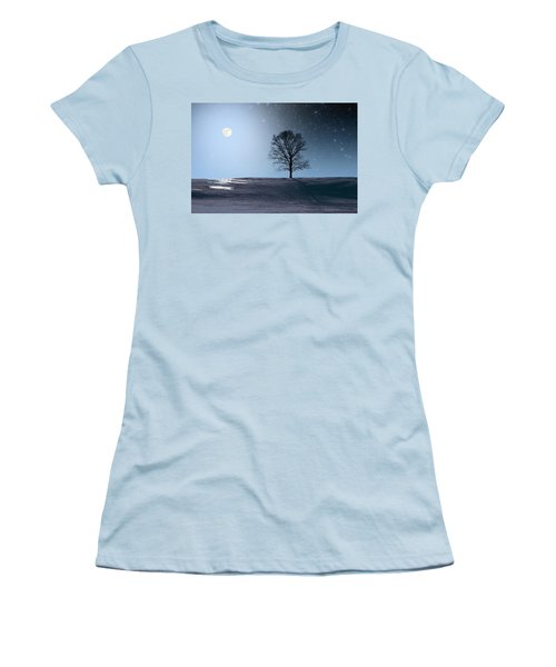 Single Tree In Moonlight Women's T-Shirt (Athletic Fit)