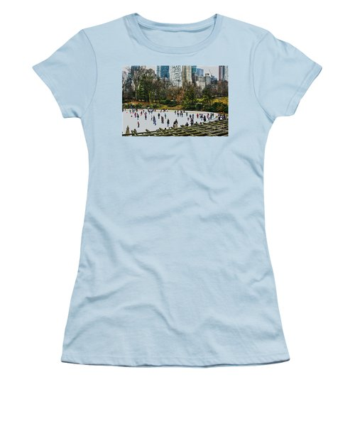 Skating At Central Park Women's T-Shirt (Junior Cut) by Sandy Moulder