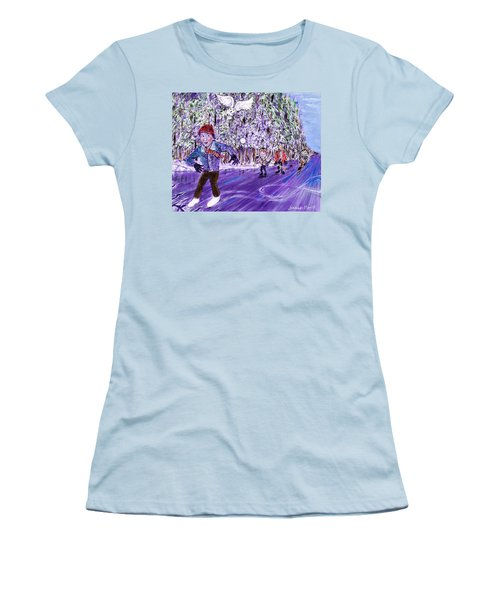 Skating On Thin Ice Women's T-Shirt (Athletic Fit)