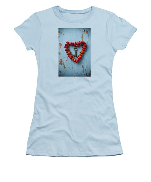 Small Rose Heart Wreath With Key Women's T-Shirt (Junior Cut) by Garry Gay