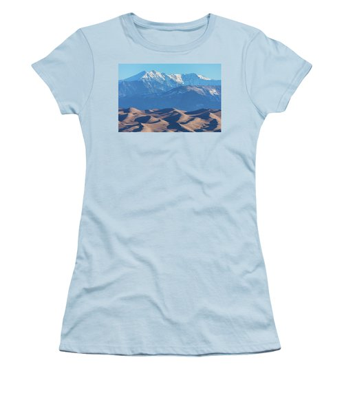 Snow Covered Rocky Mountain Peaks With Sand Dunes Women's T-Shirt (Junior Cut) by James BO Insogna