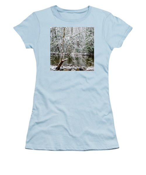 Women's T-Shirt (Junior Cut) featuring the photograph Snow Cranberry River by Thomas R Fletcher
