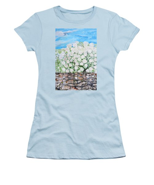 Women's T-Shirt (Junior Cut) featuring the painting Snowballs Flowers by Evelina Popilian