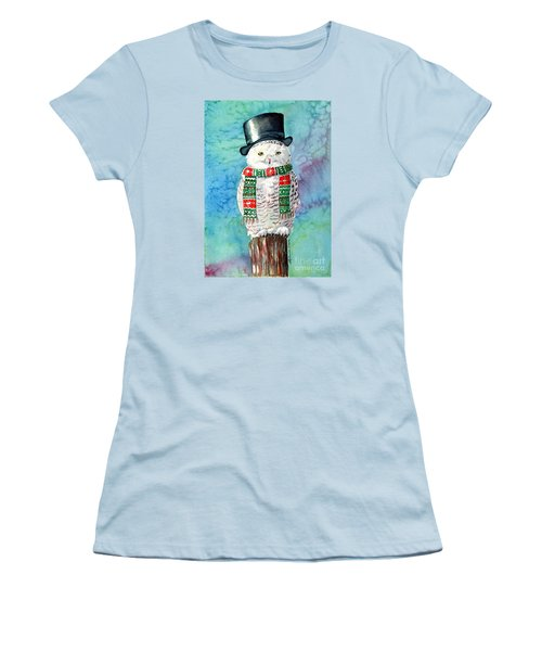 Snowman Owl Women's T-Shirt (Junior Cut) by LeAnne Sowa