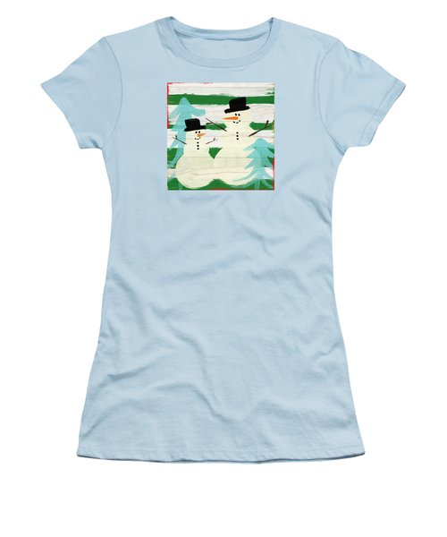 Snowmen With Blue Trees- Art By Linda Woods Women's T-Shirt (Athletic Fit)