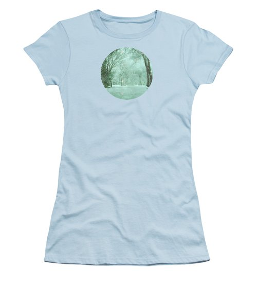 Snowy Winter Night Women's T-Shirt (Junior Cut) by Mary Wolf