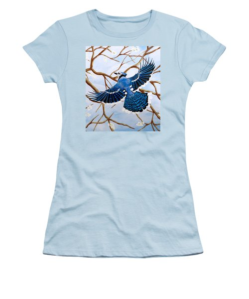 Women's T-Shirt (Junior Cut) featuring the painting Soaring Blue Jay  by Teresa Wing