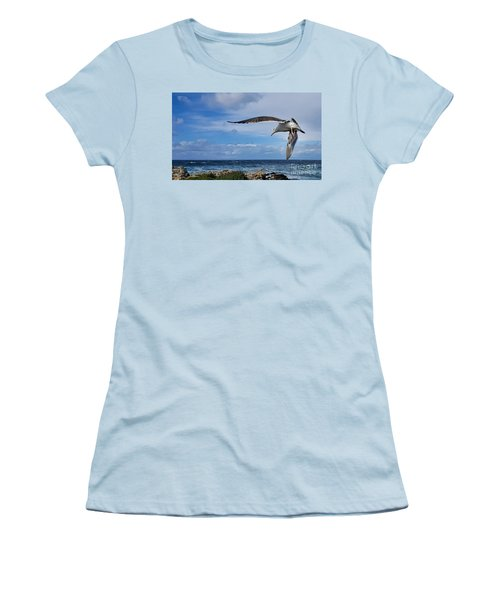 Women's T-Shirt (Junior Cut) featuring the photograph Soaring Seagull  by Gina Savage