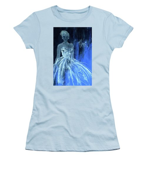 Women's T-Shirt (Junior Cut) featuring the painting Something Blue by P J Lewis