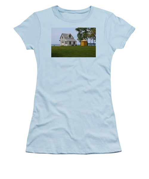 South Bass Island Lighthouse Barn And Oil Storage Building I Women's T-Shirt (Junior Cut) by Michiale Schneider