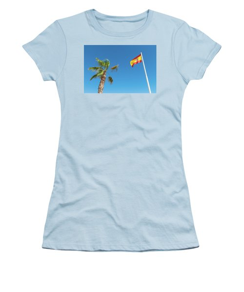 Spanish Flag And Palm Tree In The Blue Sky Women's T-Shirt (Athletic Fit)