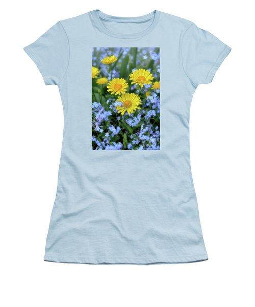 Women's T-Shirt (Junior Cut) featuring the photograph Spring Flowers Forget Me Nots And Leopard's Bane by Henry Kowalski
