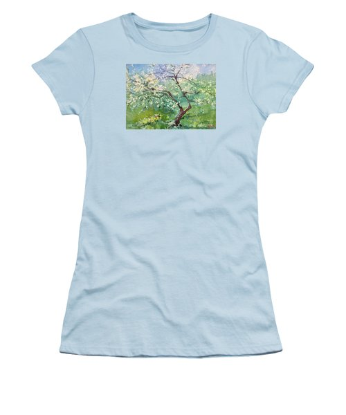 Women's T-Shirt (Junior Cut) featuring the painting Spring Plum by Elizabeth Carr