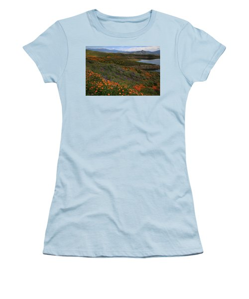 Women's T-Shirt (Junior Cut) featuring the photograph Spring Wildflowers At Diamond Lake In California by Jetson Nguyen