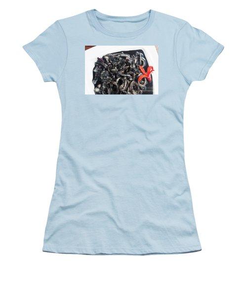 Women's T-Shirt (Junior Cut) featuring the photograph Squid In Ink by Atiketta Sangasaeng