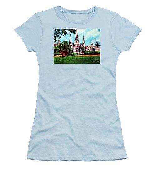 St. Louis Catheral New Orleans Art Women's T-Shirt (Junior Cut) by Ecinja Art Works