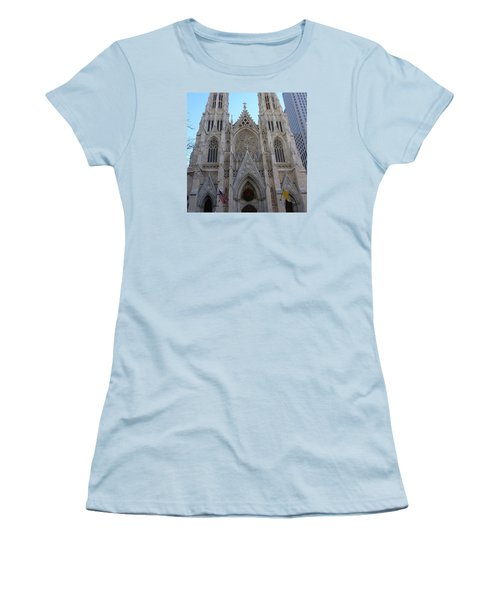 Women's T-Shirt (Junior Cut) featuring the photograph St Patrick's Cathedral, Nyc by Melinda Saminski