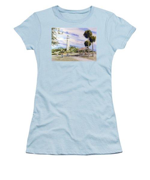 St. Simons Island Lighthouse Women's T-Shirt (Junior Cut) by Sam Sidders