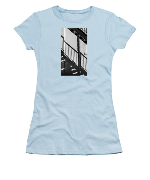 Women's T-Shirt (Junior Cut) featuring the photograph Stairs Railings And Shadows by Gary Slawsky