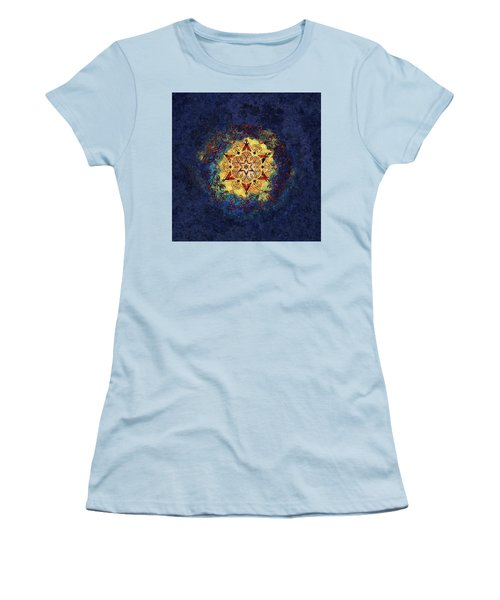 Star Shine Blue And Gold Women's T-Shirt (Athletic Fit)