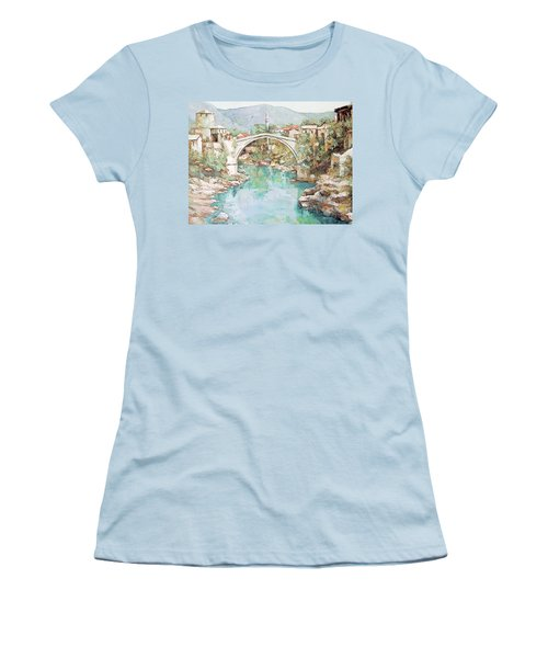 Stari Most Bridge Over The Neretva River In Mostar Bosnia Herzegovina Women's T-Shirt (Junior Cut) by Joseph Hendrix