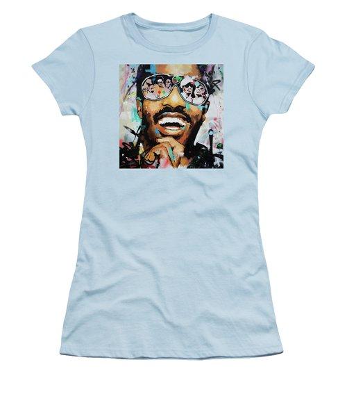 Stevie Wonder Portrait Women's T-Shirt (Athletic Fit)