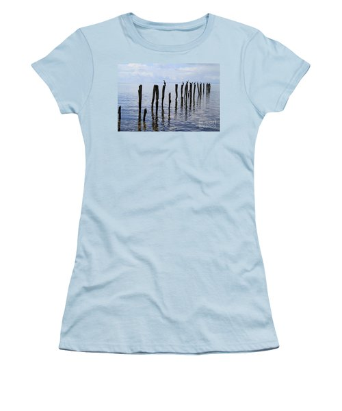 Women's T-Shirt (Athletic Fit) featuring the photograph Sticks Out To Sea by Stephen Mitchell