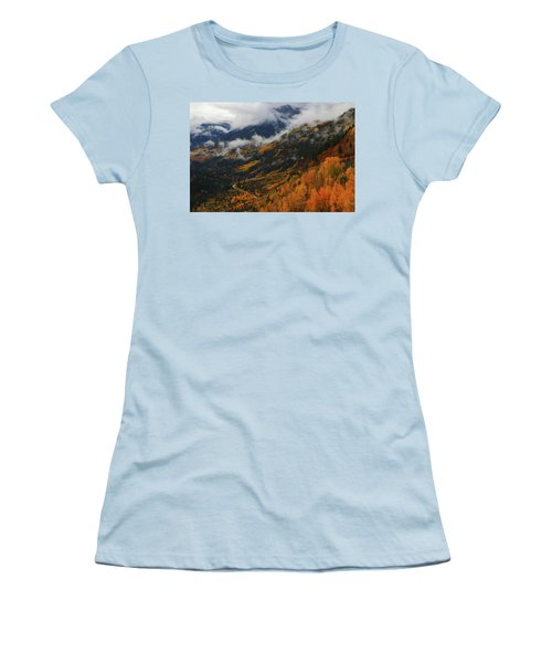 Storm Clouds Over Mcclure Pass During Autumn Women's T-Shirt (Junior Cut) by Jetson Nguyen