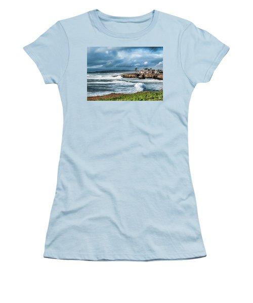 Storm Wave At Sunset Cliffs Women's T-Shirt (Junior Cut) by Daniel Hebard