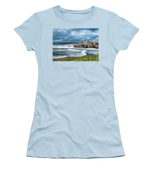 Storm Wave At Sunset Cliffs Women's T-Shirt (Athletic Fit)