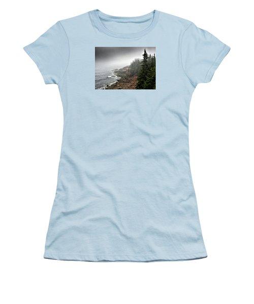 Stormy North Atlantic Coast - Acadia National Park - Maine Women's T-Shirt (Junior Cut) by Brendan Reals