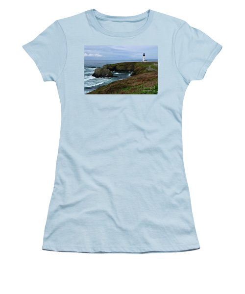 Stormy Yaquina Head Lighthouse Women's T-Shirt (Athletic Fit)