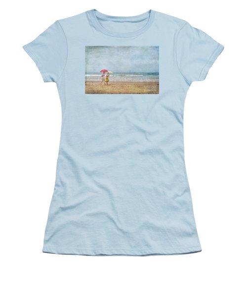 Women's T-Shirt (Junior Cut) featuring the photograph Strolling On The Beach by David Zanzinger