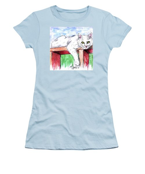 Women's T-Shirt (Junior Cut) featuring the painting Summer Cat by P J Lewis