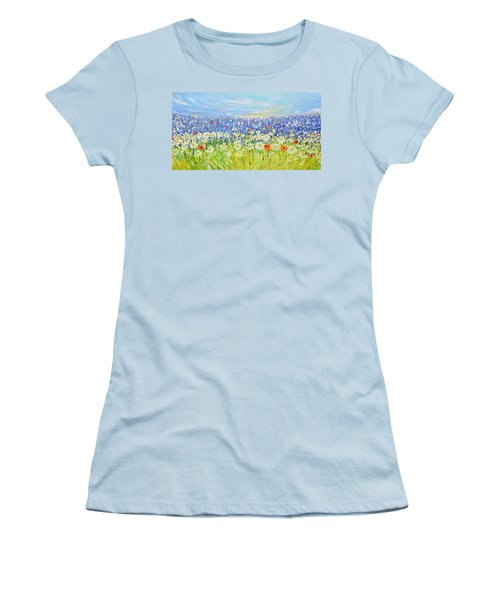 Women's T-Shirt (Junior Cut) featuring the painting Summer Field by Evelina Popilian